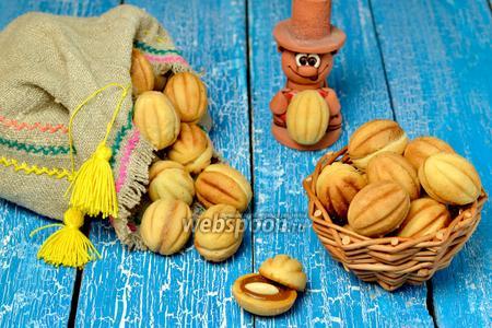 Печенье «Орешки» с варёной сгущёнкой и миндалём