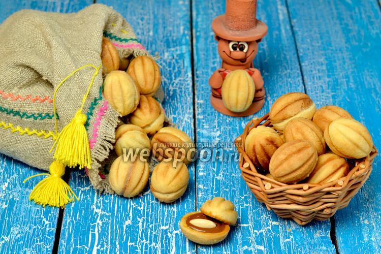 Фото Печенье «Орешки» с варёной сгущёнкой и миндалём