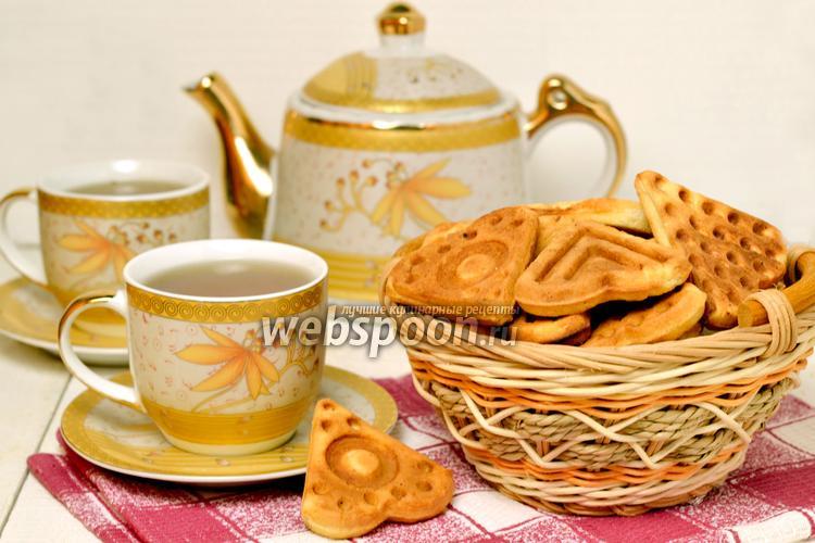 Фото Печенье в «вафельнице» на плите