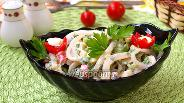 Фото рецепта Салат из кальмаров со свежими овощами и картофелем