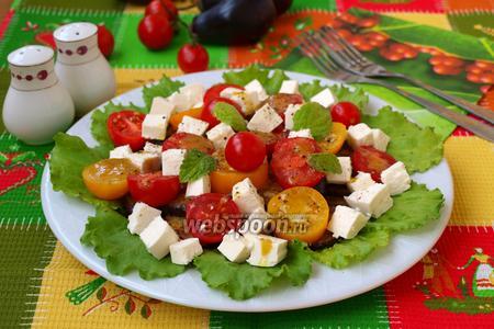 Фото рецепта Тёплый салат из баклажанов с медово-горчичной заправкой
