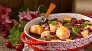 Фото рецепта Творожные кнедлики в вишнёво-сметанной заливке