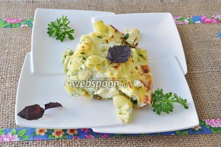 Фото рецепта Фриттата с макаронами и шпинатом