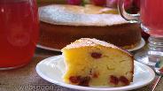 Фото рецепта Манник заливной с вяленой вишней