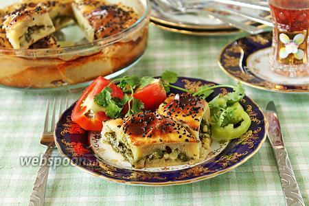 Пирог со шпинатом и сыром из теста на йогурте