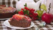 Фото рецепта Шоколадный манник-перевёртыш с яблоком
