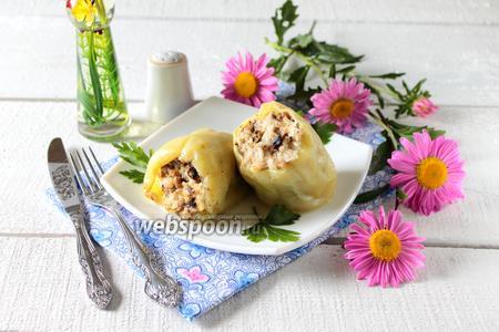 Перец фаршированный грибами и курицей в мультиварке