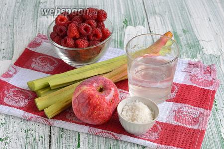 Для приготовления джема из ревеня и малины нам понадобится ревень, малина, яблоки, сахар, вода.