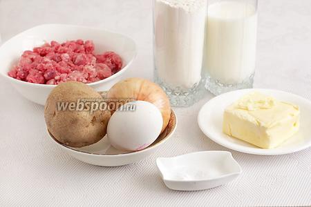 Для приготовления пирожков по-татарски нам понадобятся: мука, кефир, яйцо, соль, сода, маргарин для выпечки, фарш домашний (лучше бараний, пожирнее, а мясо предпочтительнее нарезать вручную мелкими кусочками), картофель, лук, чёрный перец.