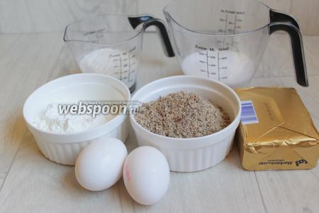 Итак возмём такие продукты: яйца, муку, крахмал, миндаль, масло сливочное, сахар.