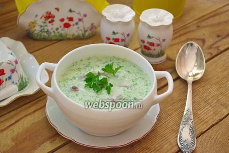 Огуречный суп с отварным языком и фасолью