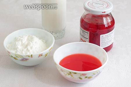Крем можно приготовить по своему вкусу и возможностям. Я решила обойтись готовым порошком для крема, у меня был вишнёвый. Итак, мне понадобились: порошок для крема, молоко, черешня для коктейлей, сироп от черешни для пропитки.