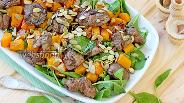 Фото рецепта Тёплый салат с тыквой и печенью