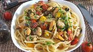 Фото рецепта Спагетти с мидиями в масляно-винном соусе