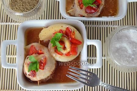 Фото рецепта Рулетики из морского языка с болгарским перцем