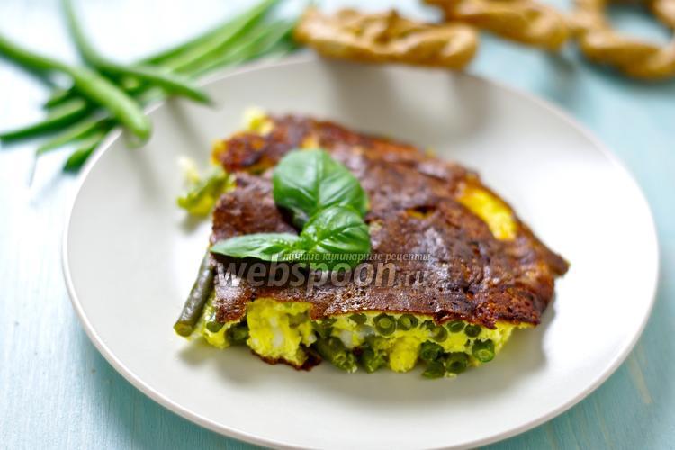 Фото Фриттата с фасолью и копчёным сыром