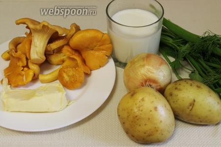 Для супа взять лисички, картофель, морковь, лук, масло, сливки, стебли петрушки и укропа, соль.