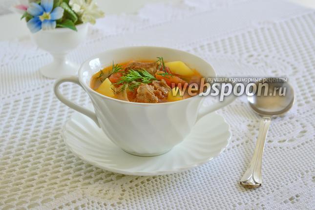 Фото Густой суп из свинины с фенхелем