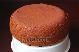 Вытянуть бисквит с помощью чаши для варки на пару. Перед нарезкой полностью охладить.