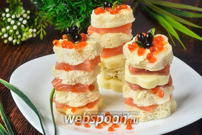 Фото Канапе с красной рыбой, сыром и икрой