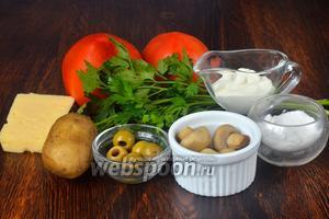 Для приготовления начинённых помидор нам понадобится соль, петрушка, сыр, сметана, картофель, оливки, шампиньоны и помидоры.