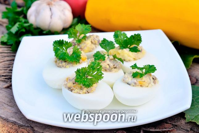 Фото Яйца фаршированные печёнкой и кукурузой