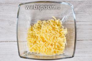 В глубокую ёмкость кладём сыр.