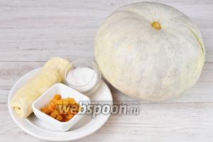 Для приготовления тарталеток из слоёного теста вам понадобится тыква, изюм, сахар и слоёное тесто.