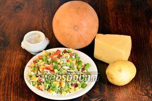 Для приготовления тыквенных медальонов вам понадобится гавайская смесь, тыква, сыр, соль и картофель.