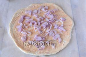 Красный лук тонко режем, посыпаем луком тесто.