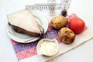 Для приготовления зубатки в фольге нам понадобятся стейки зубатки, картофель, помидор, сметана, соль и перец чёрный молотый.