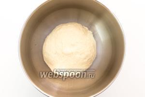 Подсыпая муку (её может понадобиться больше или меньше указанного количества), замесим мягкое тесто. Выкладываем его в миску, смазанную маслом, накрываем плёнкой. Ставим в тёплое место на 1 час.