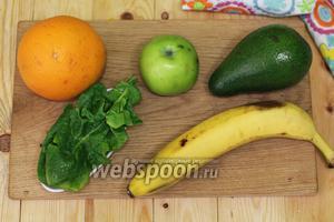 Для приготовления нам понадобятся следующие продукты: авокадо, бананы, яблоко, апельсин, масло оливковое, лён в семенах.