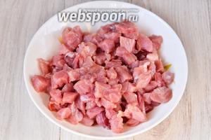 Сначала следует подготовить ингредиенты. Мясо промываем и нарезаем мелкими кусочками. Нарезать мясо лучше всего немного неразмороженным.