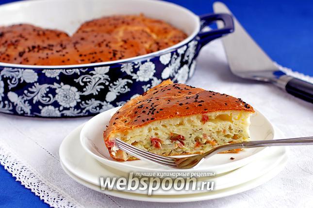 Фото Быстрый пирог с капустой и копчёной курицей