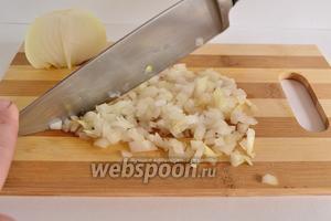 Лук почистить и нарезать как можно мельче. Удобно это делать ножом с пяточкой.