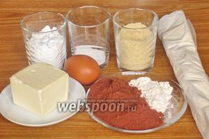 Для приготовления галеты нам понадобится тесто слоёное  бездрожжевое, сахар, сахарная пудра, сливочное масло, миндальная мука, яйца куриные, какао-порошок и мука.