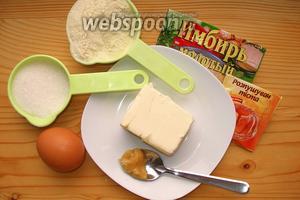 Для коврижки нам понадобится мука, яйца, масло, сахар, разрыхлитель, мёд, сухой имбирь.