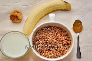 Для приготовления смузи нам понадобится греча, банан, молоко, инжир сушёный, мёд, корица.
