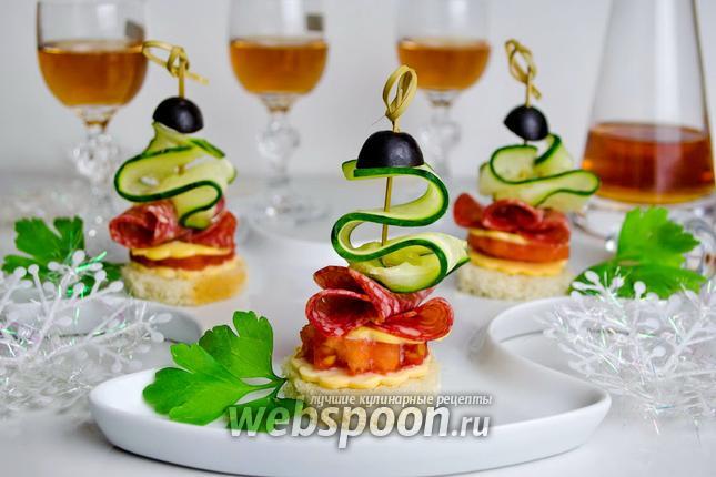 Фото Канапе с овощами и колбасой