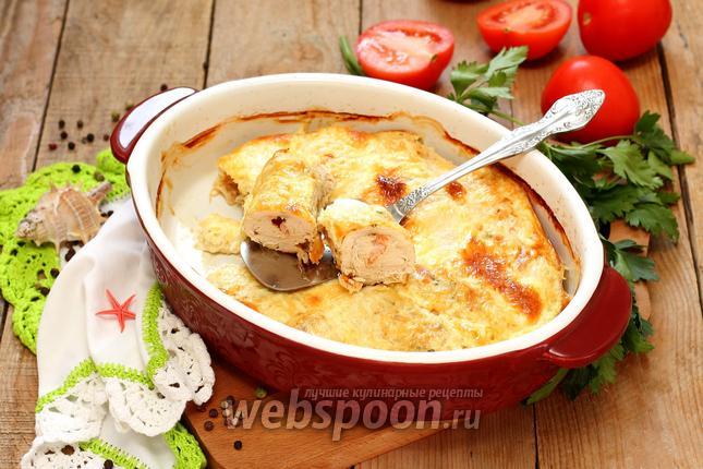 Фото Рулетики из куриного филе с креветками