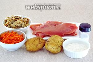 Для приготовления салата нужно взять куриное филе, картофель, морковь по-корейски, консервированные шампиньоны (у меня резанные), майонез и соль.