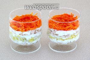 Четвёртый слой — морковь по-корейски. Морковь майонезом не покрывать!