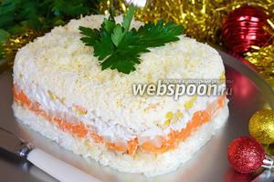Рождественский слоёный салат-торт