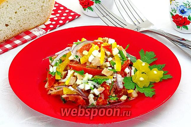 Рецепт Салат из печени трески с яйцами и овощами