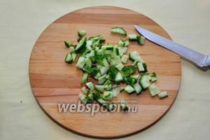 Начнем подготавливать продукты: помоем огурец и нарежем на небольшие кубики