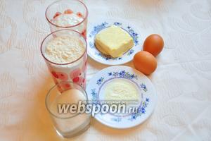 Для йогуртовых маффинов нам понадобится: мука, сахар, йогурт, сливочное масло, яйца, разрыхлитель.