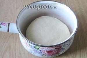 Замешиваем эластичное тесто, не липнущее к рукам.  Накрываем пищевой плёнкой или полотенцем. Ставим в тёплое место.