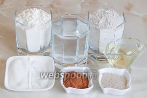 Готовить такой мраморный хлебушек мы будем из пшеничной и ржаной муки, тёплой кипячёной воды, сухих дрожжей, сахара, соли, растительного масла и ржаного солода.