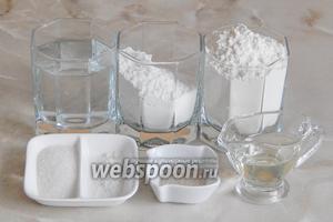 Для приготовления хлеба на рисовой заварке нам нужны следующие ингредиенты: мука пшеничная и рисовая, вода, соль, сахар, дрожжи, масло растительное.